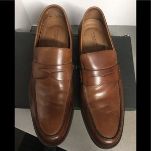 Banana Republic Mens Leather Penny Loafers Cognac